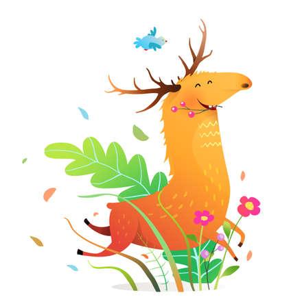 Happy funny running moose or deer in nature, cartoon for children. Vector watercolor style cartoon.