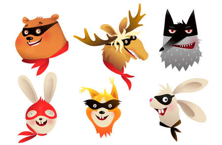Superhero animals separate heads portraits wearing mask for kids costume party design. Vector brave characters illustration for children in watercolor style. Ilustração