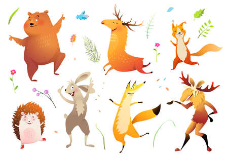 Forest wild baby animals collection for kids bear fox moose hedgehog and squirrel and other pets. Cute wildlife set for children design, vector character illustration in watercolor style.