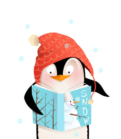 Penguin wearing winter knitted hat reading book with snowman winter cover cheerful kids character design. Cute and friendly animal character design for children in vector. Stock Illustratie
