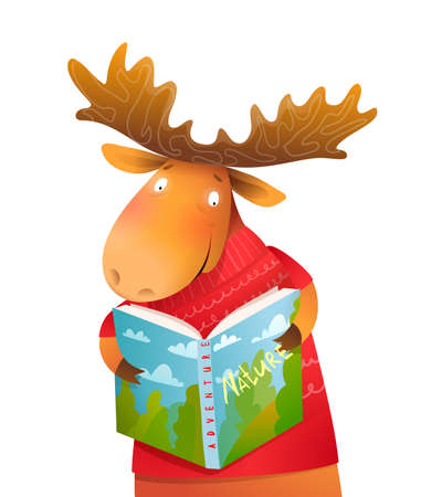 Moose wearing winter knitted sweater reading nature book cheerful kids character design. Cute and friendly animal character design for children in vector. Stock Illustratie
