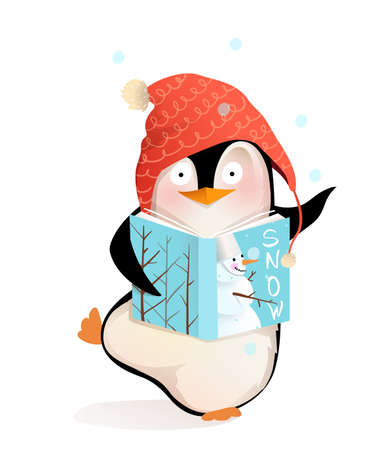 Happy Penguin reading book story about snowman and winter holidays, cute smiling children character Christmas greetings. Vector cartoon illustration for kids.