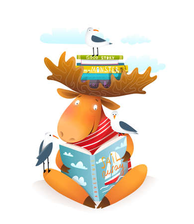 Moose or elk character reading book about sailing with bookshelf on his antlers and seagulls friends. Study and education character design, vector illustration for children. Vektorgrafik
