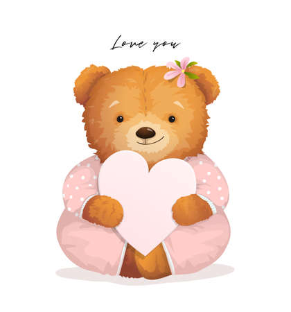 Cute Teddy Bear girl for chilren holding a heart gift card, valentines graphic design with soft baby toy, cute and lovely. Fashion and love apparel realistic print vector design for kids and adults.