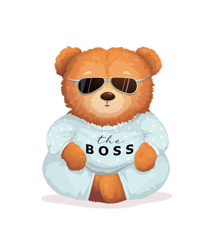 Cool teddy bear wearing sunglasses with the Boss sign on his shirt. Soft toy for kids and adults apparel or gift card vector graphic design, fashionable bossy print.