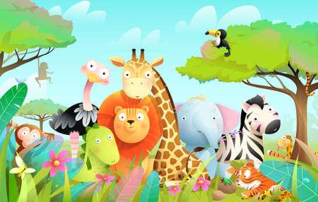 Wild exotic baby animals in african jungle or savanna with trees Ilustración de vector