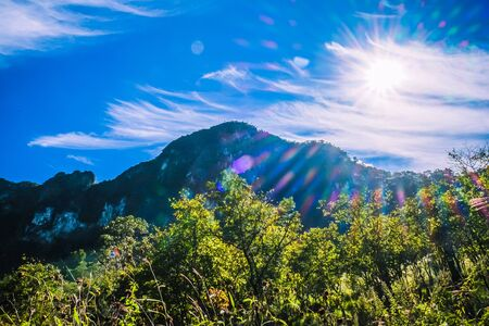 big mountain with clear blue sky and backlit 免版税图像
