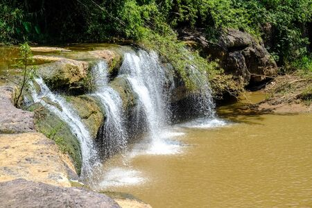little water fall with nature forest 免版税图像