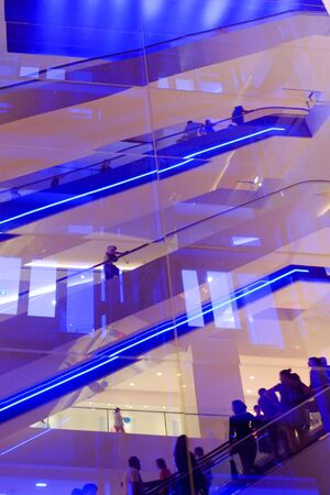 escalator with led light in shopping center Stock Photo