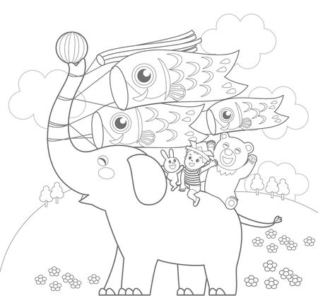 Childrens Day Coloring Stock Illustratie