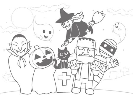 Halloween Character Coloring Book