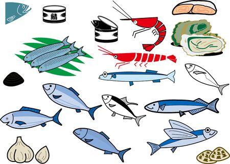 Fish and shellfish 向量圖像