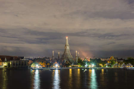 On the river at Wat Arun night view