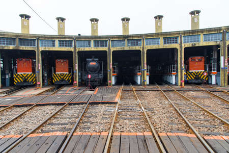 Railway Roundhouse ,Changhua, Taiwan -December 8 ,2017: Many tourists are visiting the fan-shaped train depot in Changhua Railway Roundhouse