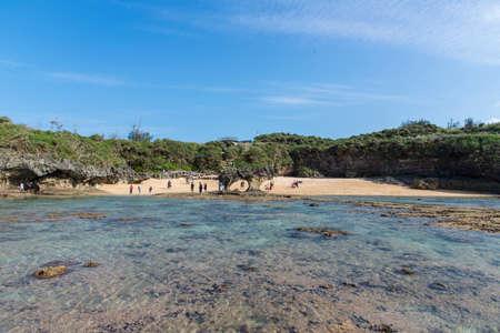 Kouri Island ,Okinawa, Japan -April 18 ,2018: Many tourists visit the Kouri Island