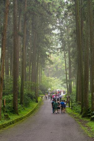 TXitou Nature Education Area:Nantou,Taiwan -June 30,2018:Many tourists visit TXitou Nature Education Area
