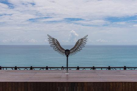 Beautiful angel wings by the sea 免版税图像