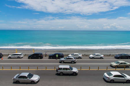 Seaside road:Taitung, Taiwan -August 20 ,2018:Many cars drive on the seaside road