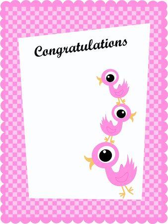 congratulation card: congratulation card with pink birds