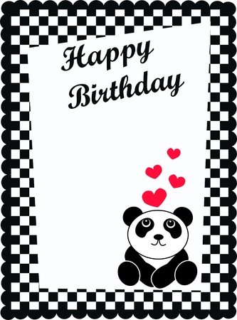 happy birthday card with a cute panda bear Vector
