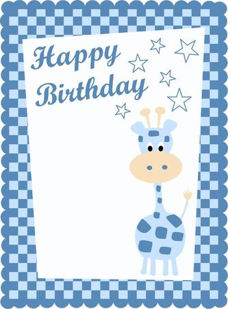 happy birthday card with a cute blue giraffe Vector