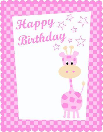 happy birthday card with a cute pink giraffe Vector
