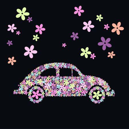 escarabajo: coche de flor  Vectores