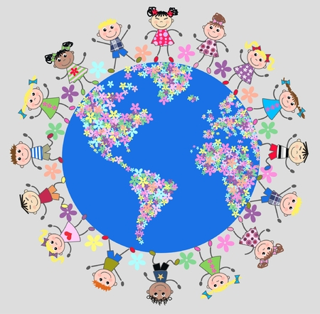 united kids around the planet Vector