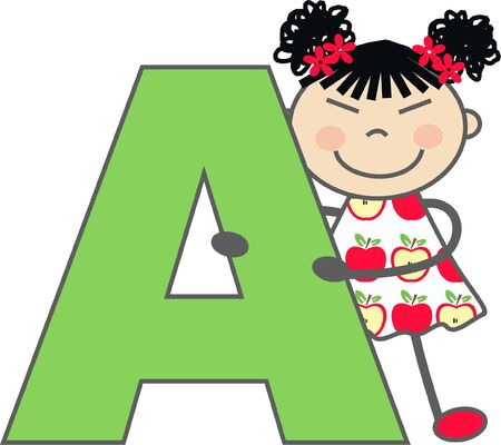 schoolchild: a girl with letter A