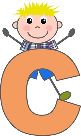 a boy with letter C Vector
