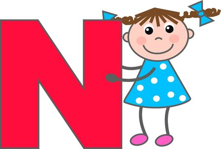 a girl with letter N Stock Vector - 7633979
