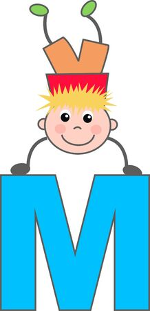 A boy with letter M Stock Vector - 7633977