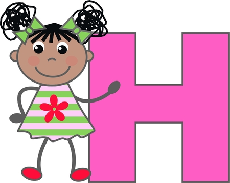 a girl with letter H Vector