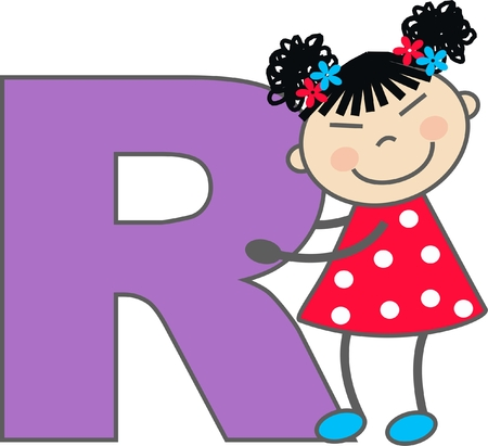 a girl with letter R Vector