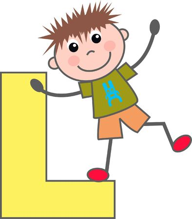 a boy with letter L Vector