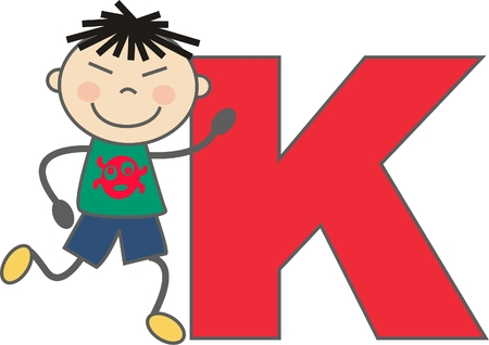 a boy with letter K Vector