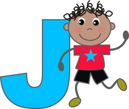 letters of the alphabet: a boy with letter J Illustration