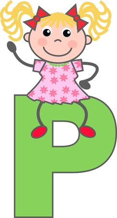 a girl with letter P Vector