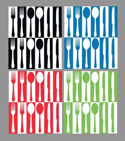seamless cutlery pattern i four different color combinations Vector