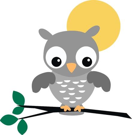 cute grey owl Stock Vector - 7800279