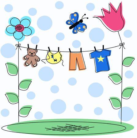 invitacion bebe: tarjeta de anuncio de beb�  Vectores