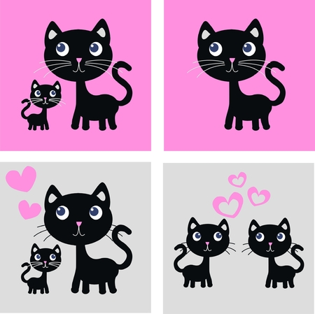 four different cat print Stock Vector - 7896941