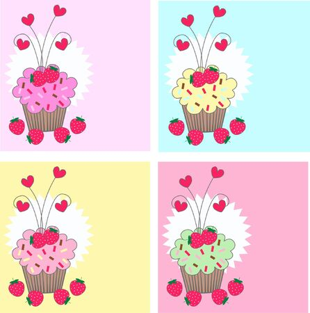 cupcake pattern Stock Vector - 8029553