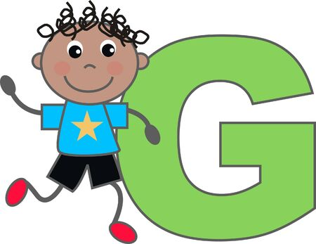 a boy with letter G Vector