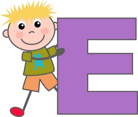 the letter e: a boy with letter E Illustration