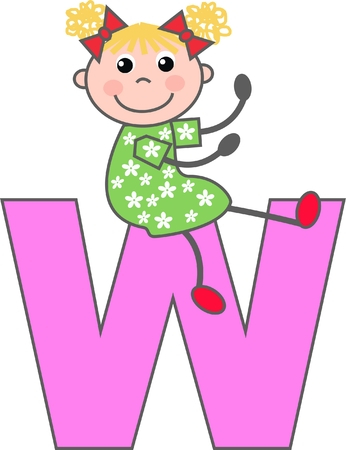 a girl with letter W Vector