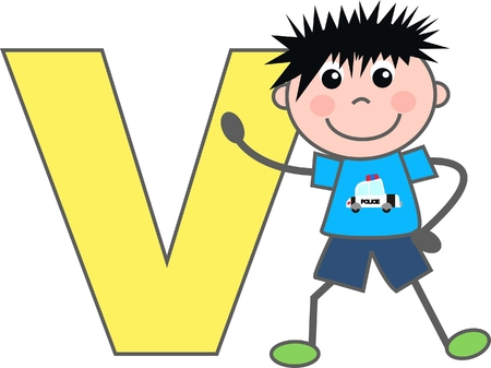 a boy with letter V Vector