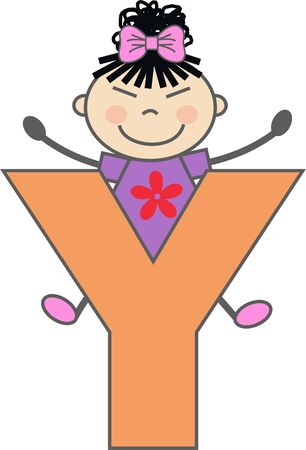 a girl with letter Y Vector