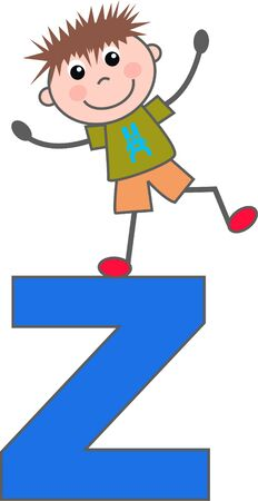 a boy with letter Z Vector