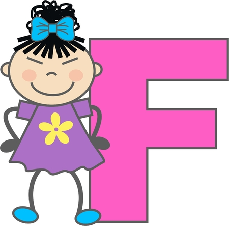 a girl with letter F Vector
